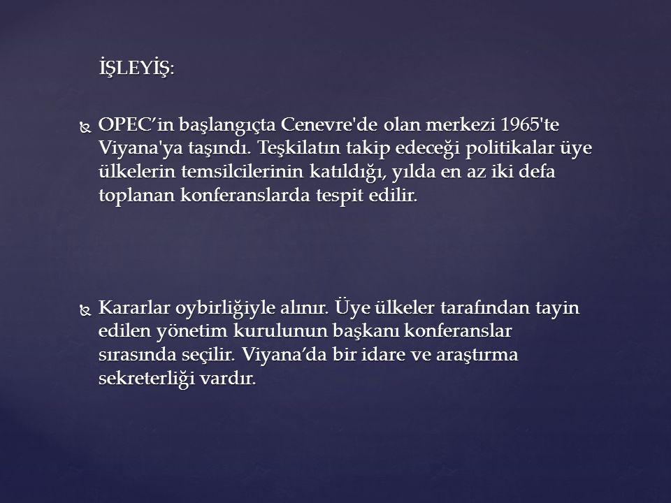 İŞLEYİŞ: İŞLEYİŞ:  OPEC'in başlangıçta Cenevre'de olan merkezi 1965'te Viyana'ya taşındı. Teşkilatın takip edeceği politikalar üye ülkelerin temsilci