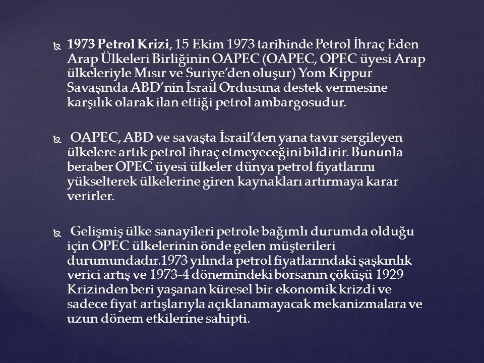   1973 Petrol Krizi, 15 Ekim 1973 tarihinde Petrol İhraç Eden Arap Ülkeleri Birliğinin OAPEC (OAPEC, OPEC üyesi Arap ülkeleriyle Mısır ve Suriye'den