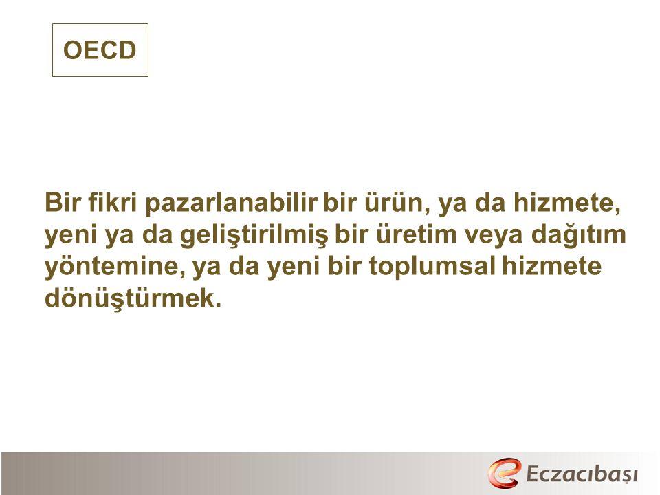 OECD Bir fikri pazarlanabilir bir ürün, ya da hizmete, yeni ya da geliştirilmiş bir üretim veya dağıtım yöntemine, ya da yeni bir toplumsal hizmete dönüştürmek.