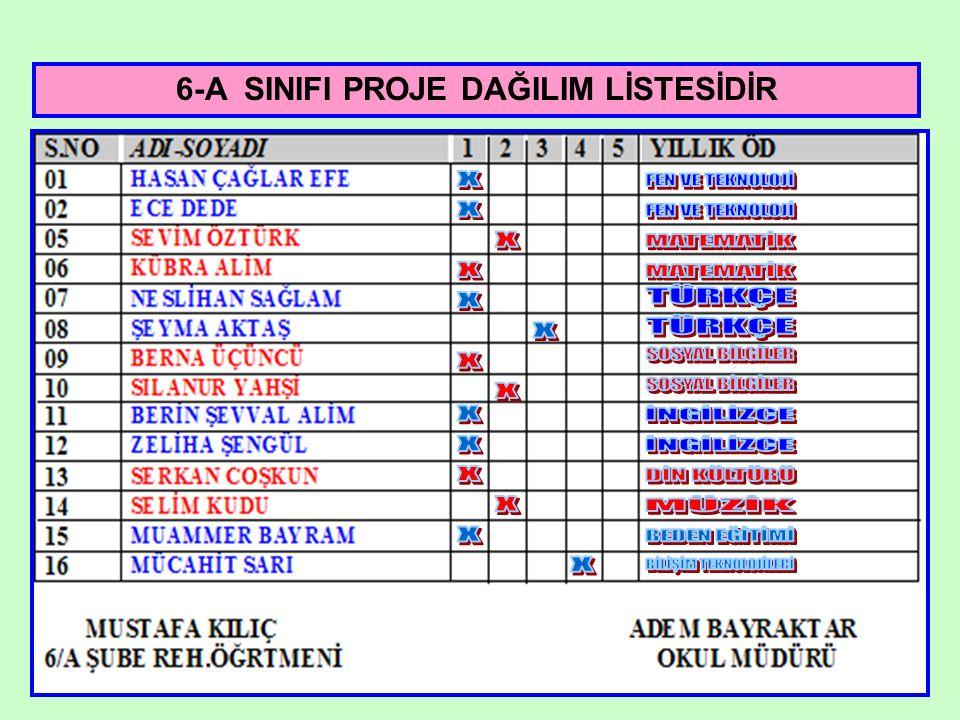 6-A SINIFI PROJE DAĞILIM LİSTESİDİR