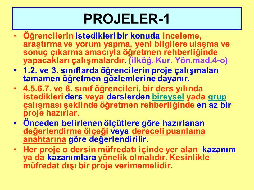 PROJELER-1 Öğrencilerin istedikleri bir konuda inceleme, araştırma ve yorum yapma, yeni bilgilere ulaşma ve sonuç çıkarma amacıyla öğretmen rehberliğinde yapacakları çalışmalardır.