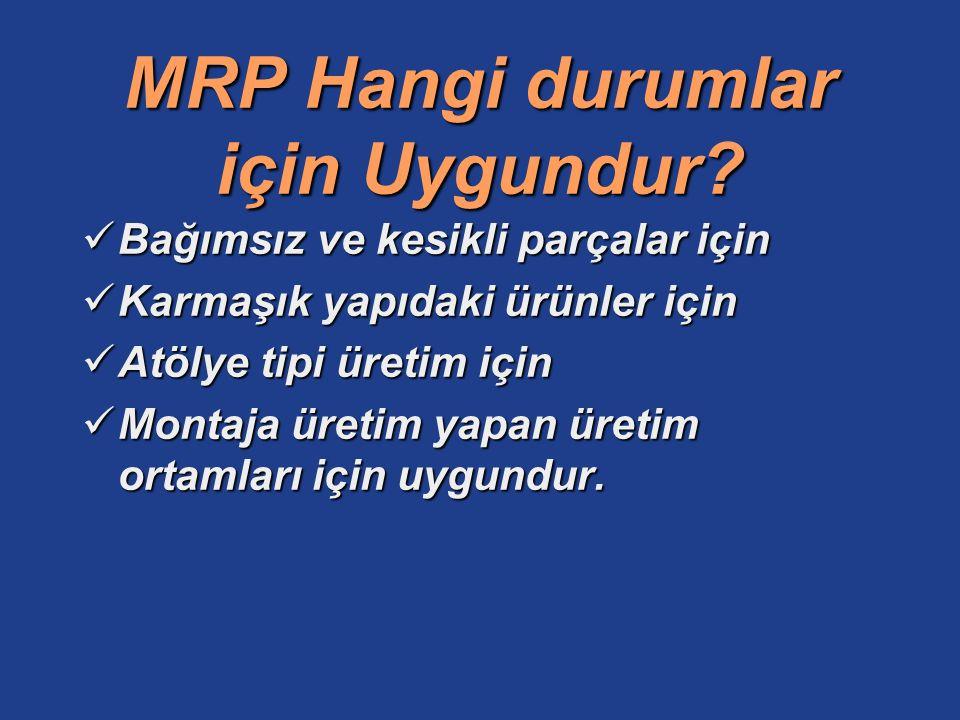 MRP Hangi durumlar için Uygundur? Bağımsız ve kesikli parçalar için Bağımsız ve kesikli parçalar için Karmaşık yapıdaki ürünler için Karmaşık yapıdaki