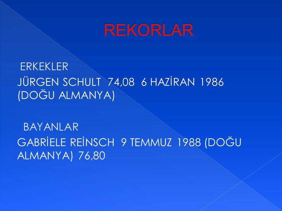 ERKEKLER JÜRGEN SCHULT 74,08 6 HAZİRAN 1986 (DOĞU ALMANYA) BAYANLAR GABRİELE REİNSCH 9 TEMMUZ 1988 (DOĞU ALMANYA) 76,80