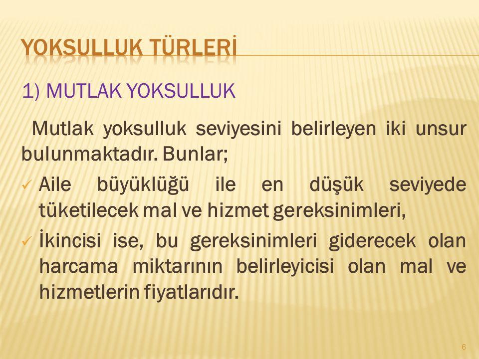  Türkiye için eşdeğer hane halkı kullanılabilir fert medyan gelirin %50'si bazında hesaplanan yoksulluk sınırına göre, Türkiye'de yoksulluk oranı %15'tir.