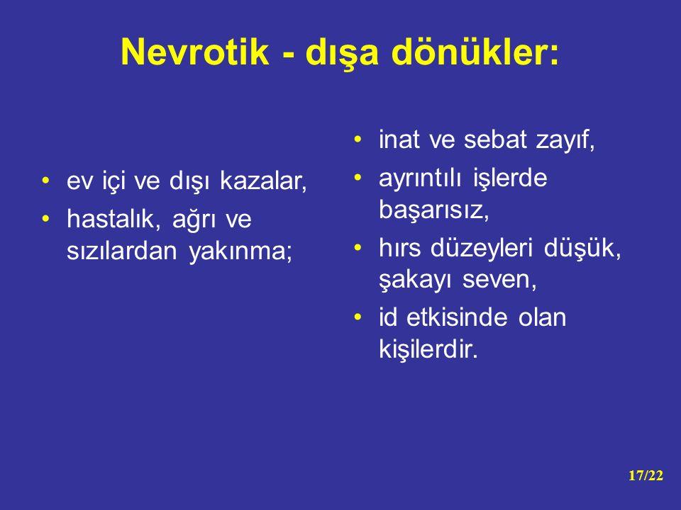 Nevrotik - dışa dönükler: ev içi ve dışı kazalar, hastalık, ağrı ve sızılardan yakınma; inat ve sebat zayıf, ayrıntılı işlerde başarısız, hırs düzeyle