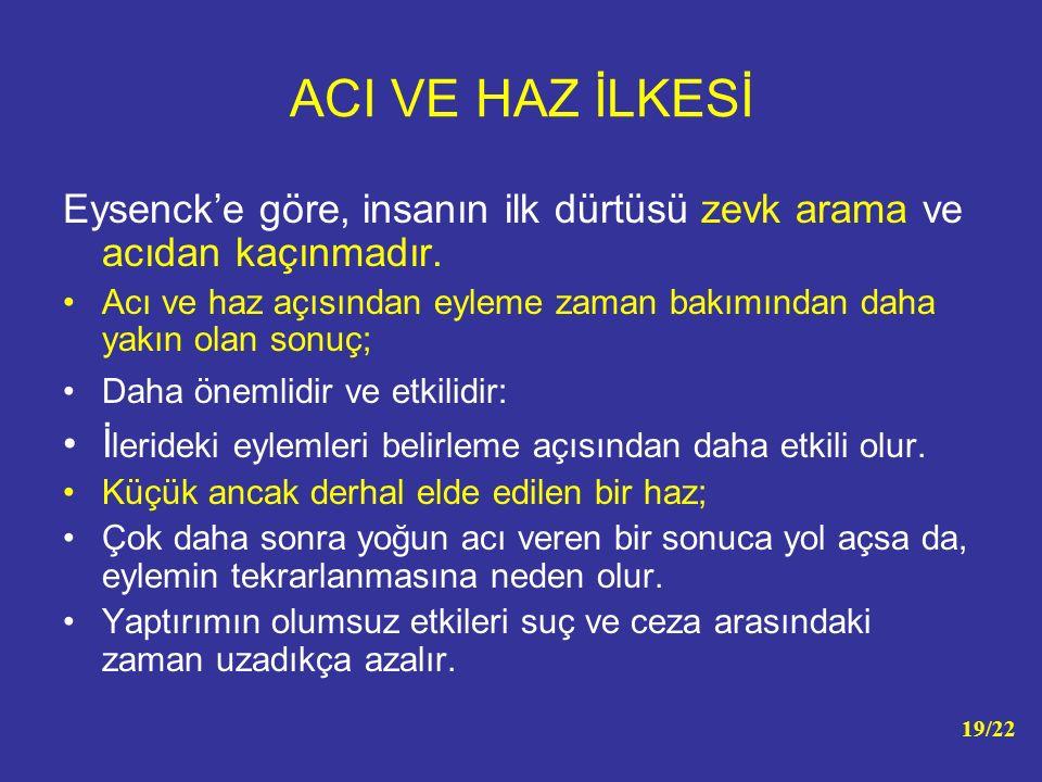 ACI VE HAZ İLKESİ Eysenck'e göre, insanın ilk dürtüsü zevk arama ve acıdan kaçınmadır. Acı ve haz açısından eyleme zaman bakımından daha yakın olan so