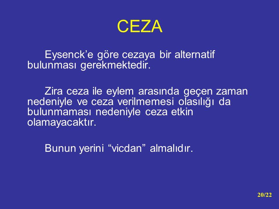 CEZA Eysenck'e göre cezaya bir alternatif bulunması gerekmektedir. Zira ceza ile eylem arasında geçen zaman nedeniyle ve ceza verilmemesi olasılığı da