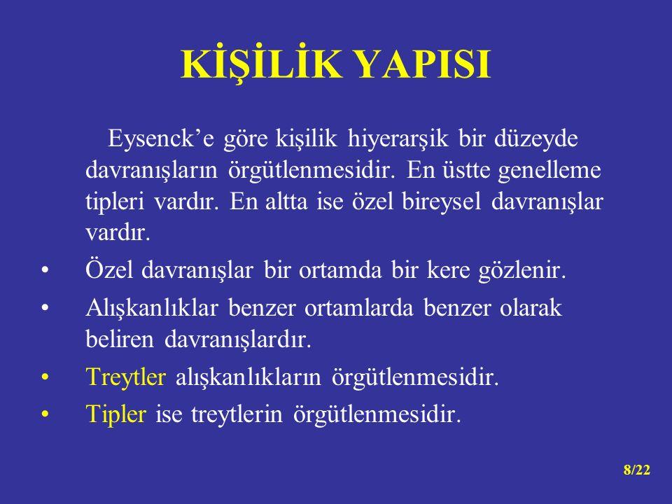 Eysenck'e göre kişilik hiyerarşik bir düzeyde davranışların örgütlenmesidir.
