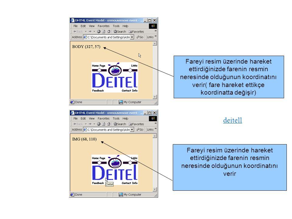 deitell Fareyi resim üzerinde hareket ettirdiğinizde farenin resmin neresinde olduğunun koordinatını verir( fare hareket ettikçe koordinatta değişir)