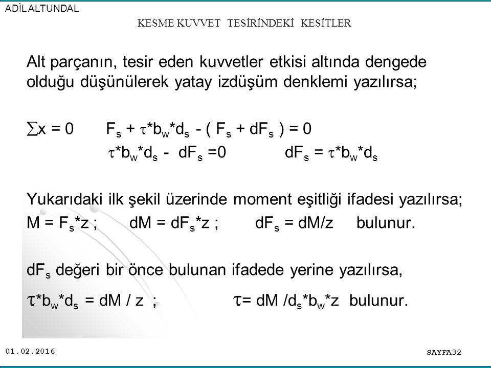 01.02.2016 Alt parçanın, tesir eden kuvvetler etkisi altında dengede olduğu düşünülerek yatay izdüşüm denklemi yazılırsa;  x = 0 F s +  *b w *d s -
