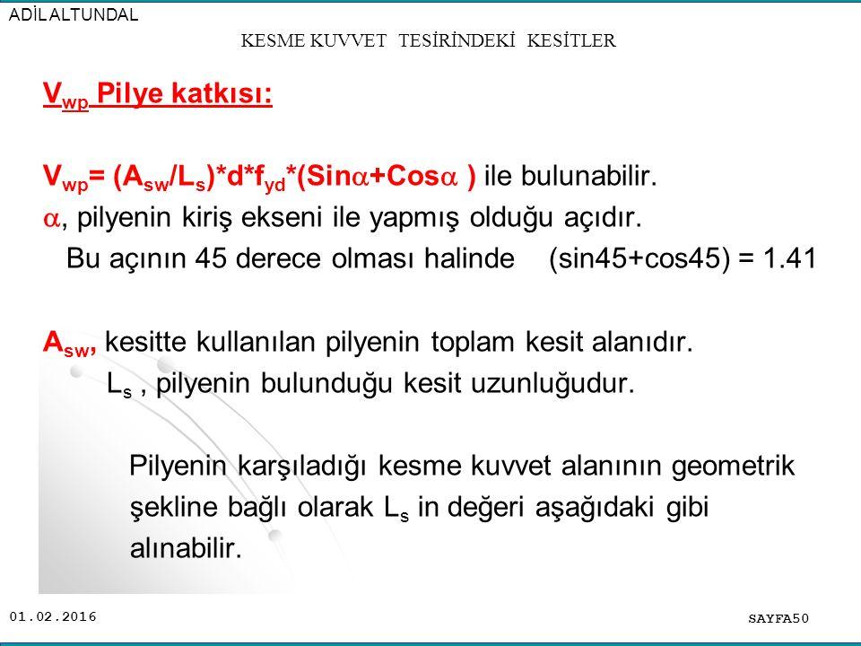 01.02.2016 SAYFA50 ADİL ALTUNDAL KESME KUVVET TESİRİNDEKİ KESİTLER V wp Pilye katkısı: V wp = (A sw /L s )*d*f yd *(Sin  +Cos  ) ile bulunabilir. ,