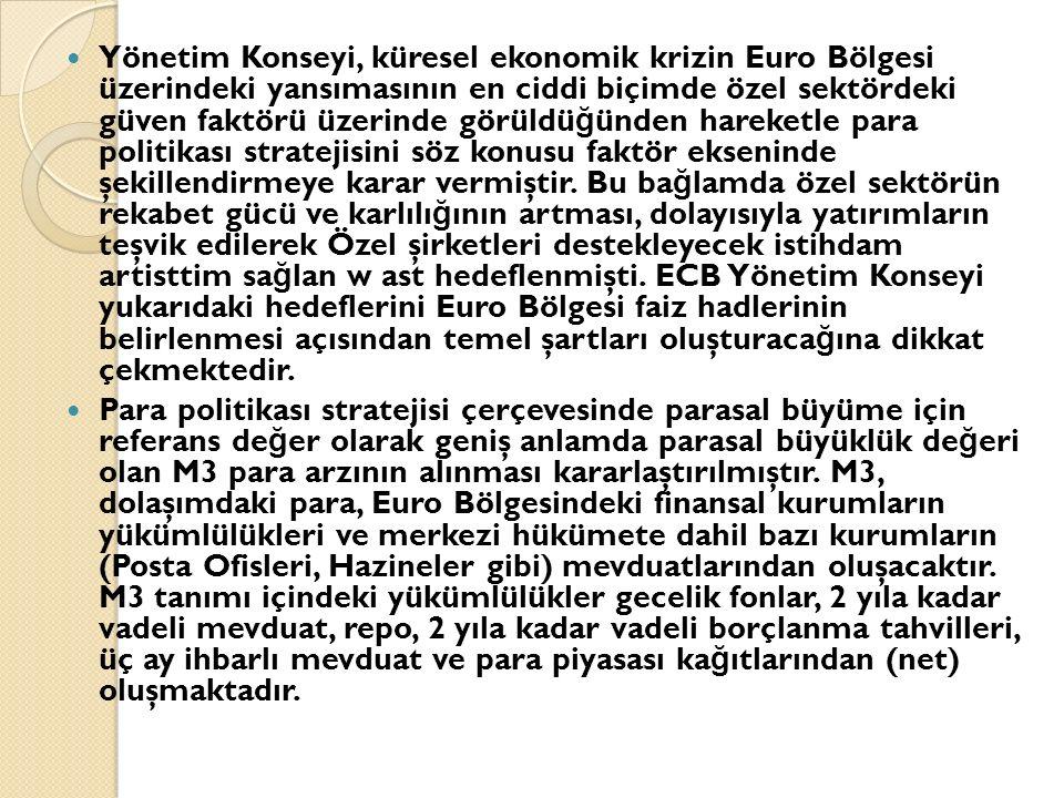 Yönetim Konseyi, küresel ekonomik krizin Euro Bölgesi üzerindeki yansımasının en ciddi biçimde özel sektördeki güven faktörü üzerinde görüldü ğ ünden hareketle para politikası stratejisini söz konusu faktör ekseninde şekillendirmeye karar vermiştir.