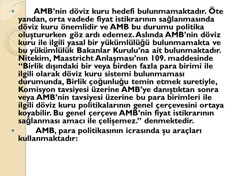 AMB'nin döviz kuru hedefi bulunmamaktadır.