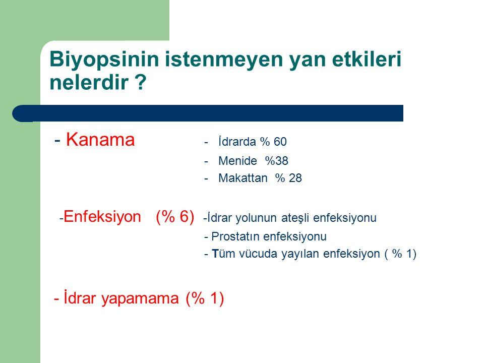 Biyopsinin istenmeyen yan etkileri nelerdir ? - Kanama - İdrarda % 60 - Menide %38 - Makattan % 28 - Enfeksiyon (% 6) -İdrar yolunun ateşli enfeksiyon