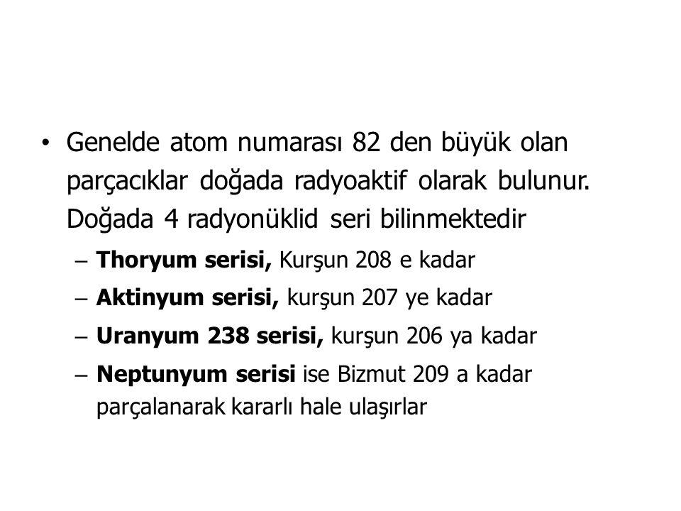 Genelde atom numarası 82 den büyük olan parçacıklar doğada radyoaktif olarak bulunur.