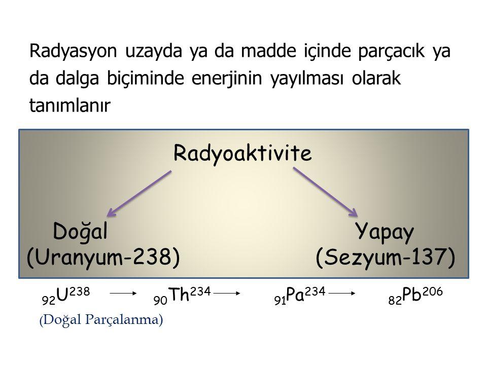 Radyasyon uzayda ya da madde içinde parçacık ya da dalga biçiminde enerjinin yayılması olarak tanımlanır Radyoaktivite Doğal Yapay (Uranyum-238) (Sezyum-137) 92 U 238 90 Th 234 91 Pa 234 82 Pb 206 ( Doğal Parçalanma)