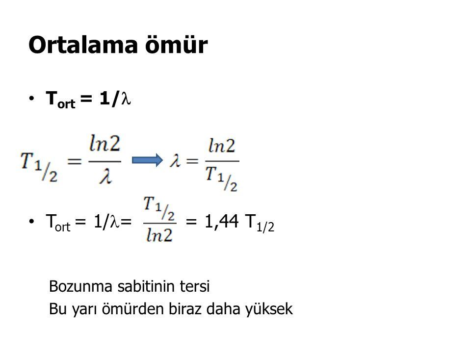 Ortalama ömür T ort = 1/ T ort = 1/ = = 1,44 T 1/2 Bozunma sabitinin tersi Bu yarı ömürden biraz daha yüksek
