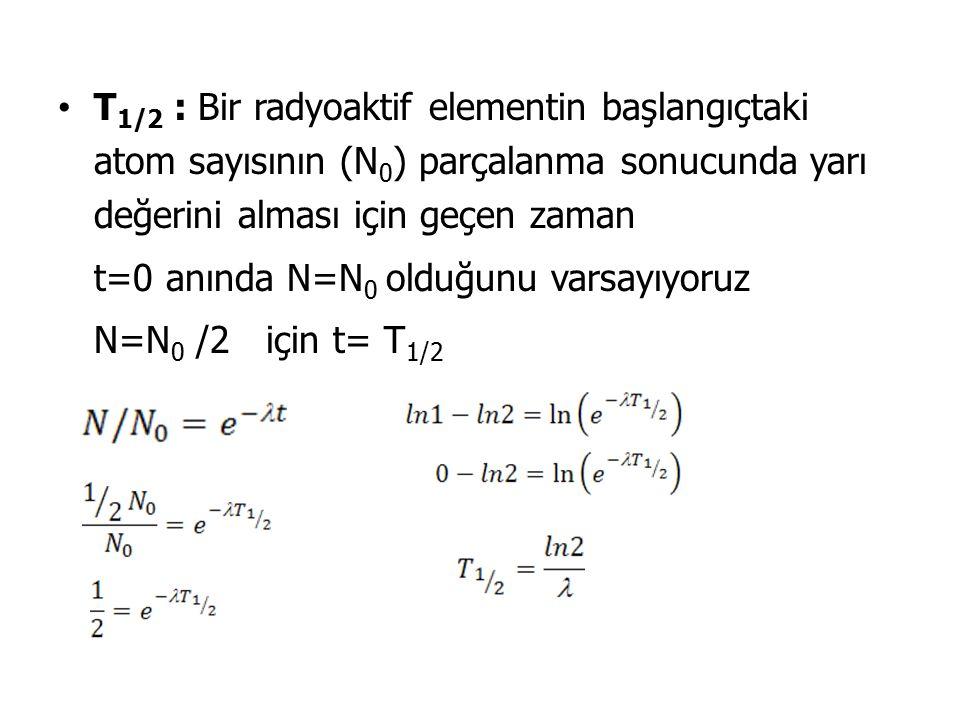 T 1/2 : Bir radyoaktif elementin başlangıçtaki atom sayısının (N 0 ) parçalanma sonucunda yarı değerini alması için geçen zaman t=0 anında N=N 0 olduğunu varsayıyoruz N=N 0 /2 için t= T 1/2