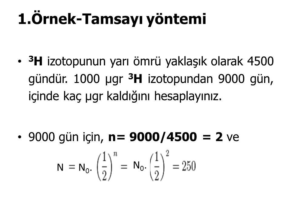 1.Örnek-Tamsayı yöntemi 3 H izotopunun yarı ömrü yaklaşık olarak 4500 gündür.