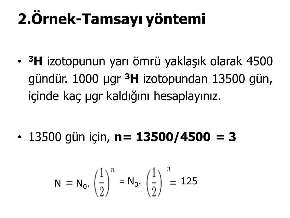 2.Örnek-Tamsayı yöntemi 3 H izotopunun yarı ömrü yaklaşık olarak 4500 gündür.