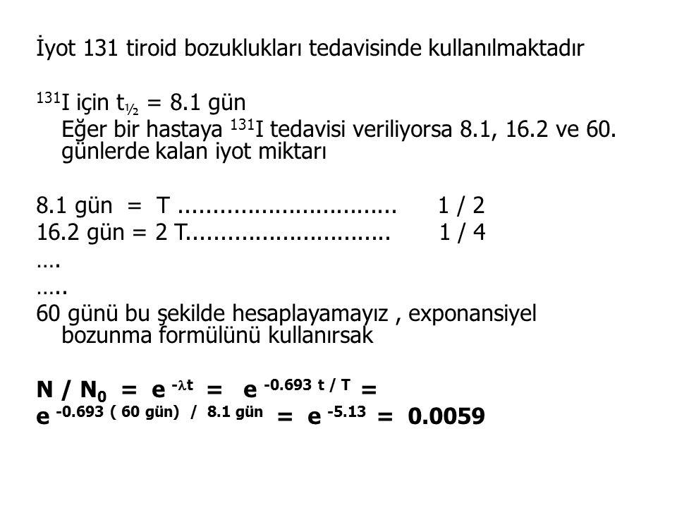 İyot 131 tiroid bozuklukları tedavisinde kullanılmaktadır 131 I için t ½ = 8.1 gün Eğer bir hastaya 131 I tedavisi veriliyorsa 8.1, 16.2 ve 60.