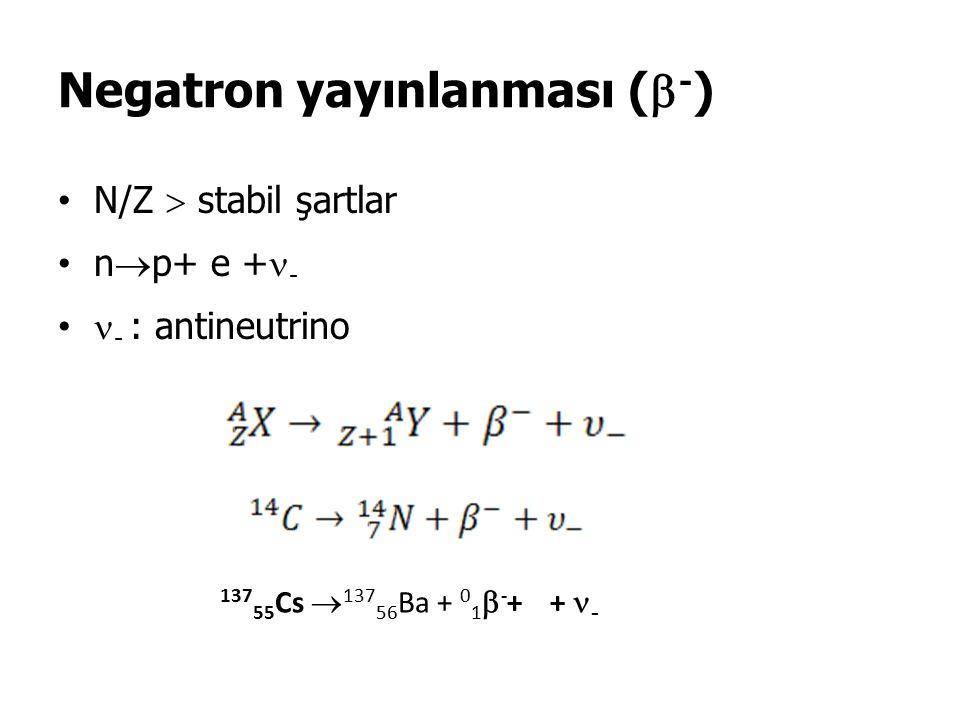 Negatron yayınlanması (  - ) N/Z  stabil şartlar n  p+ e + - - : antineutrino 137 55 Cs  137 56 Ba + 0 1  - + + -