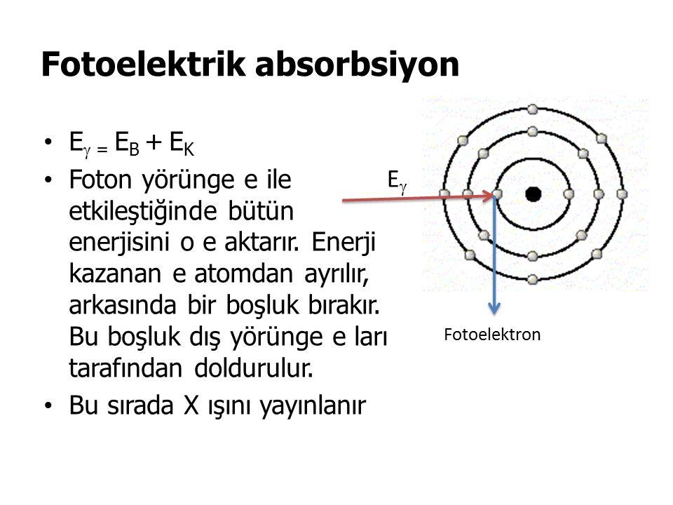 Fotoelektrik absorbsiyon E  = E B + E K Foton yörünge e ile etkileştiğinde bütün enerjisini o e aktarır.