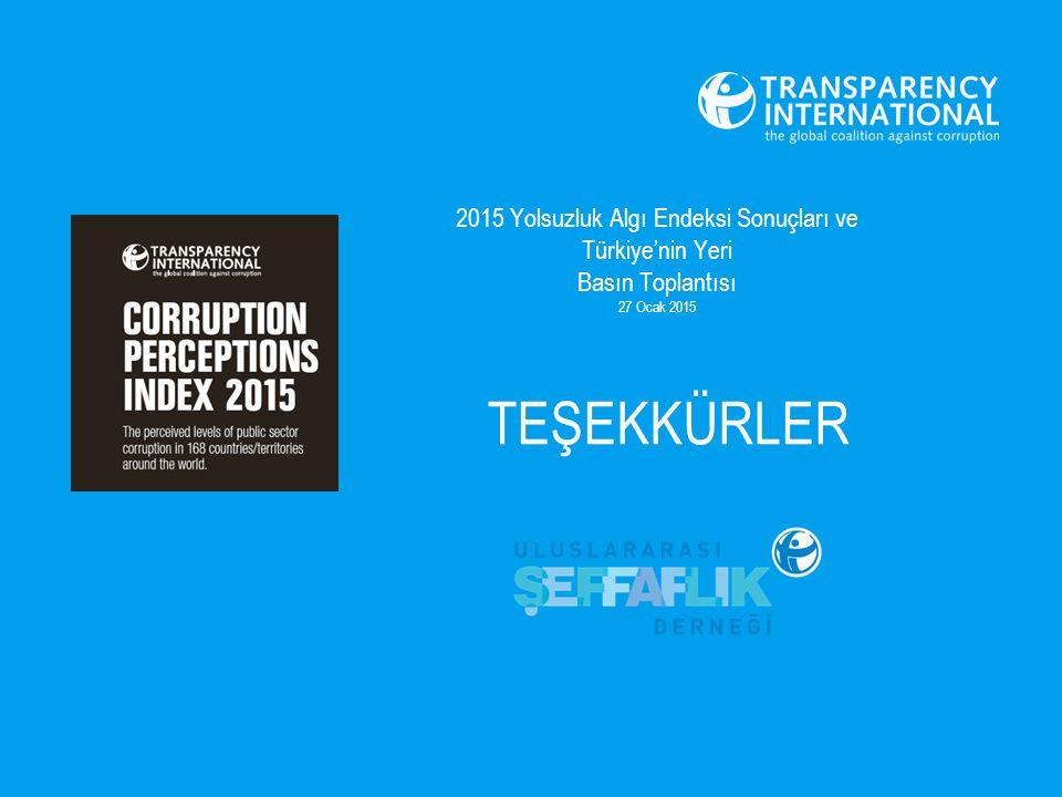 2015 Yolsuzluk Algı Endeksi Sonuçları ve Türkiye'nin Yeri Basın Toplantısı 27 Ocak 2015 TEŞEKKÜRLER