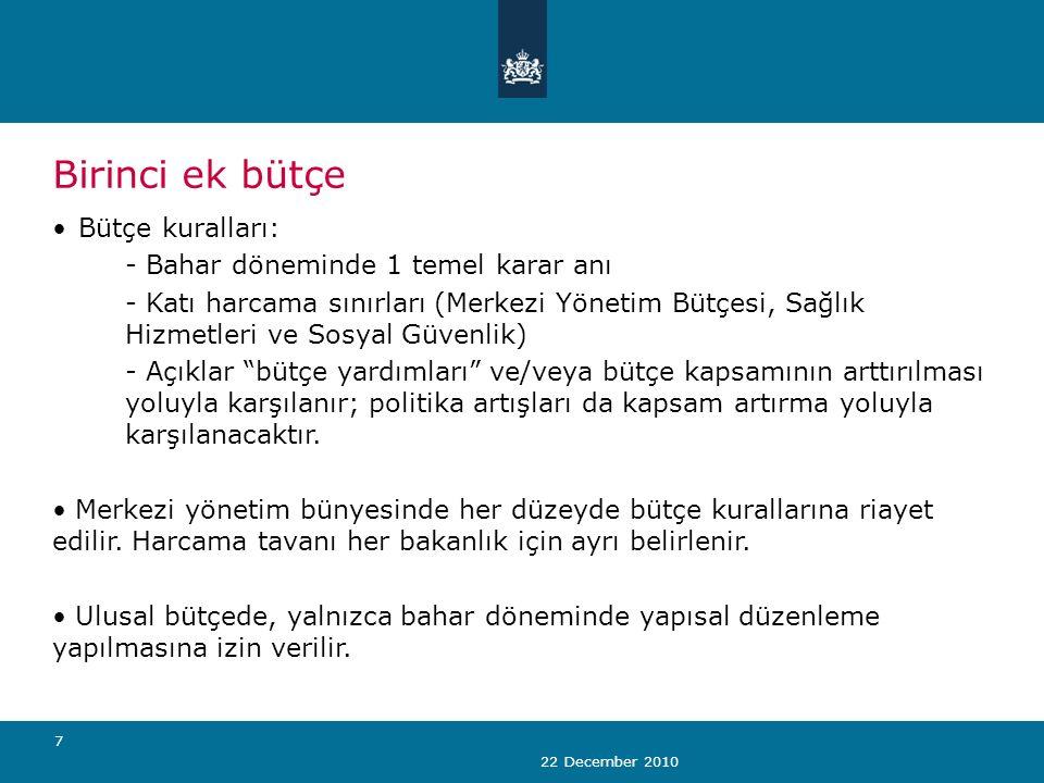 22 December 2010 7 Birinci ek bütçe Bütçe kuralları: - Bahar döneminde 1 temel karar anı - Katı harcama sınırları (Merkezi Yönetim Bütçesi, Sağlık Hizmetleri ve Sosyal Güvenlik) - Açıklar bütçe yardımları ve/veya bütçe kapsamının arttırılması yoluyla karşılanır; politika artışları da kapsam artırma yoluyla karşılanacaktır.
