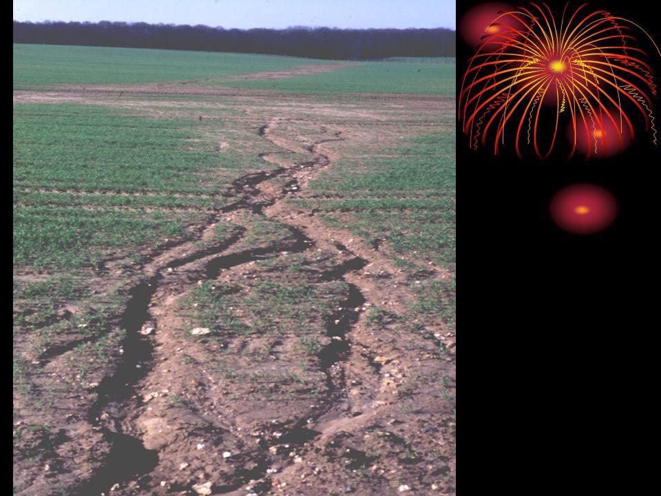 Oluk erozyonundan daha derin ve büyüktür.Vadi ve vadicikler şeklindedir.Bu tip arazilere bandland :kötü arazi de denir.Arazi iyice parçalanmış,kullanılamaz hale gelmiştir.