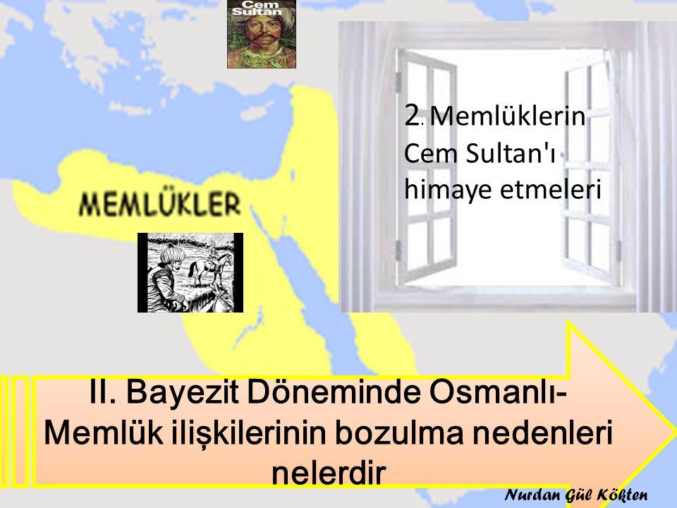 II. Bayezit Döneminde Osmanlı- Memlük ilişkilerinin bozulma nedenleri nelerdir 2. Memlüklerin Cem Sultan'ı himaye etmeleri Nurdan Gül Kökten