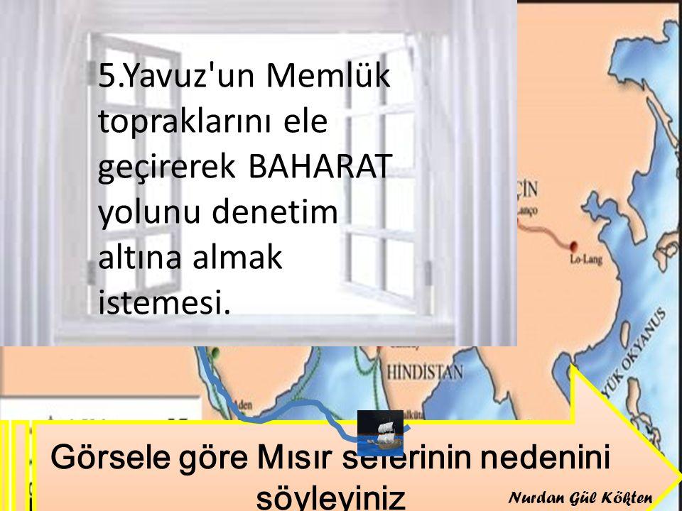 Görsele göre Mısır seferinin nedenini söyleyiniz 5.Yavuz'un Memlük topraklarını ele geçirerek BAHARAT yolunu denetim altına almak istemesi. Nurdan Gül