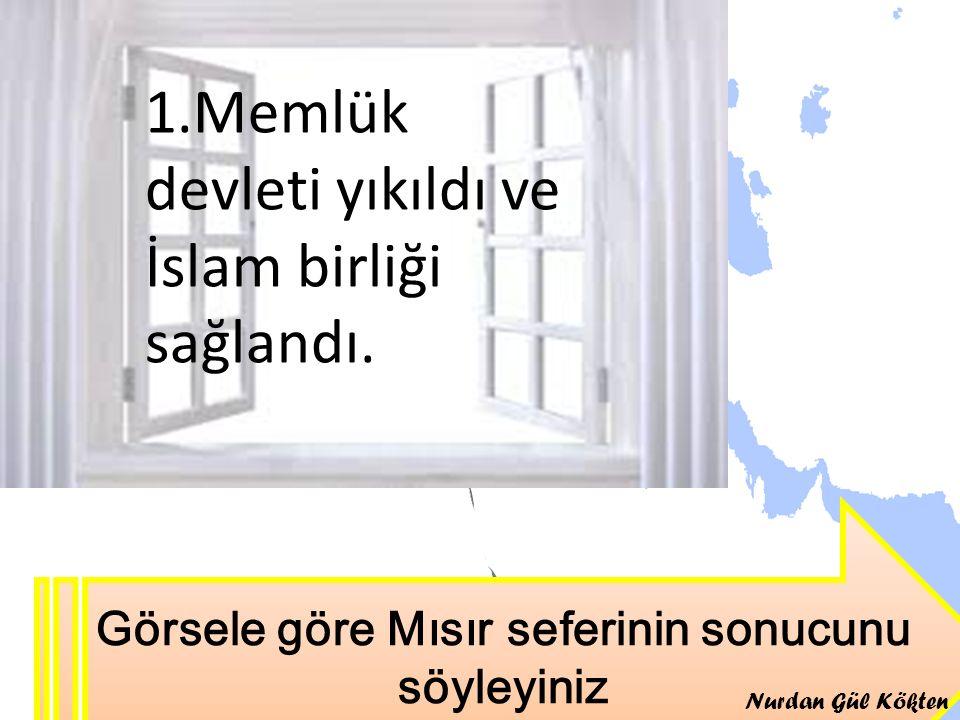 Osmanlı Toprağı Görsele göre Mısır seferinin sonucunu söyleyiniz 1.Memlük devleti yıkıldı ve İslam birliği sağlandı. Nurdan Gül Kökten