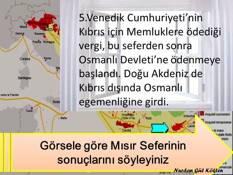 Görsele göre Mısır Seferinin sonuçlarını söyleyiniz 5.Venedik Cumhuriyeti'nin Kıbrıs için Memluklere ödediği vergi, bu seferden sonra Osmanlı Devleti'