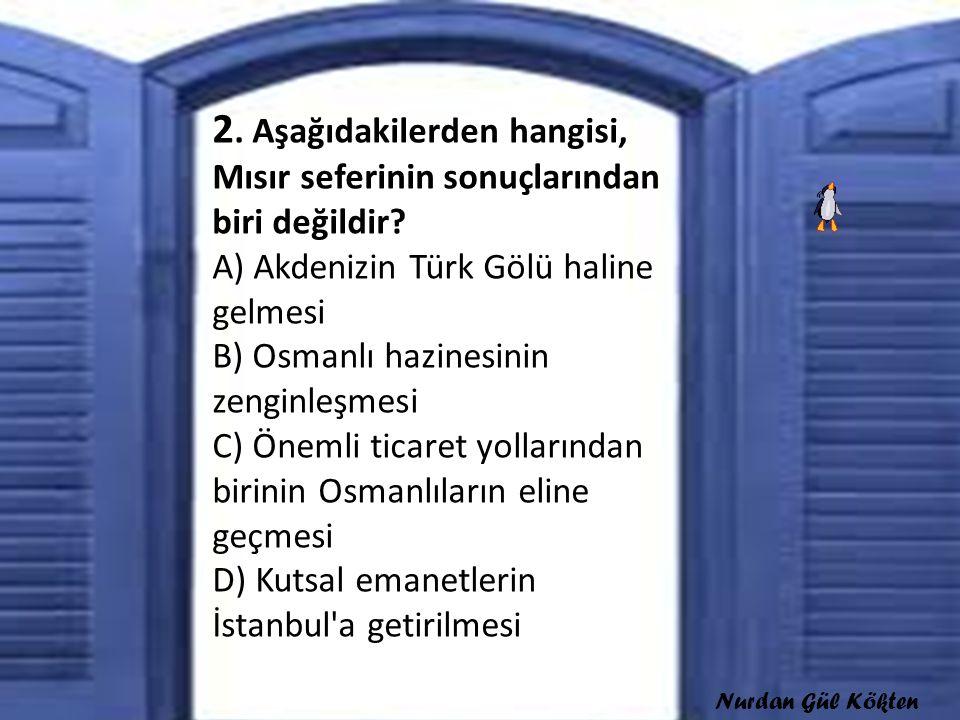 2. Aşağıdakilerden hangisi, Mısır seferinin sonuçlarından biri değildir? A) Akdenizin Türk Gölü haline gelmesi B) Osmanlı hazinesinin zenginleşmesi C)