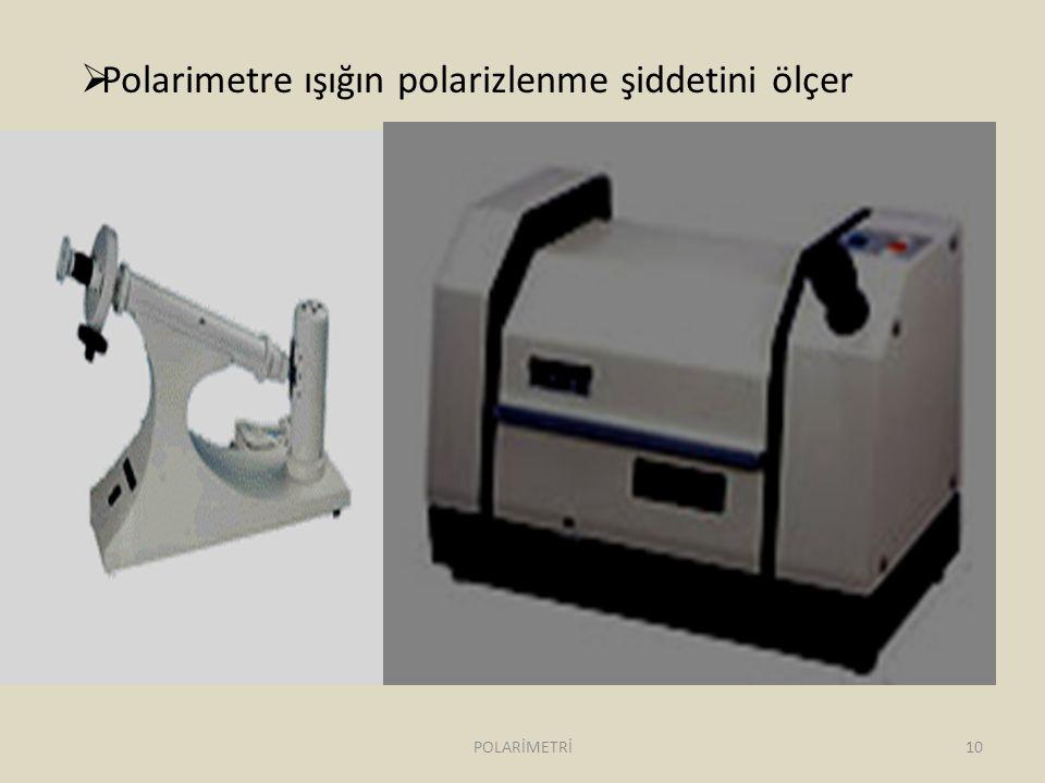  Polarimetre ışığın polarizlenme şiddetini ölçer 10POLARİMETRİ
