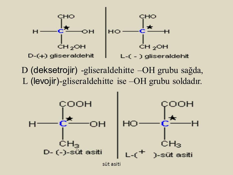 D (deksetrojir) -gliseraldehitte –OH grubu sağda, L (levojir) -gliseraldehitte ise –OH grubu soldadır. süt asiti