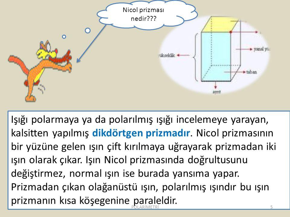 Işığı polarmaya ya da polarılmış ışığı incelemeye yarayan, kalsitten yapılmış dikdörtgen prizmadır. Nicol prizmasının bir yüzüne gelen ışın çift kırıl