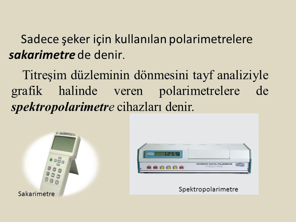Sadece şeker için kullanılan polarimetrelere sakarimetre de denir. Titreşim düzleminin dönmesini tayf analiziyle grafik halinde veren polarimetrelere