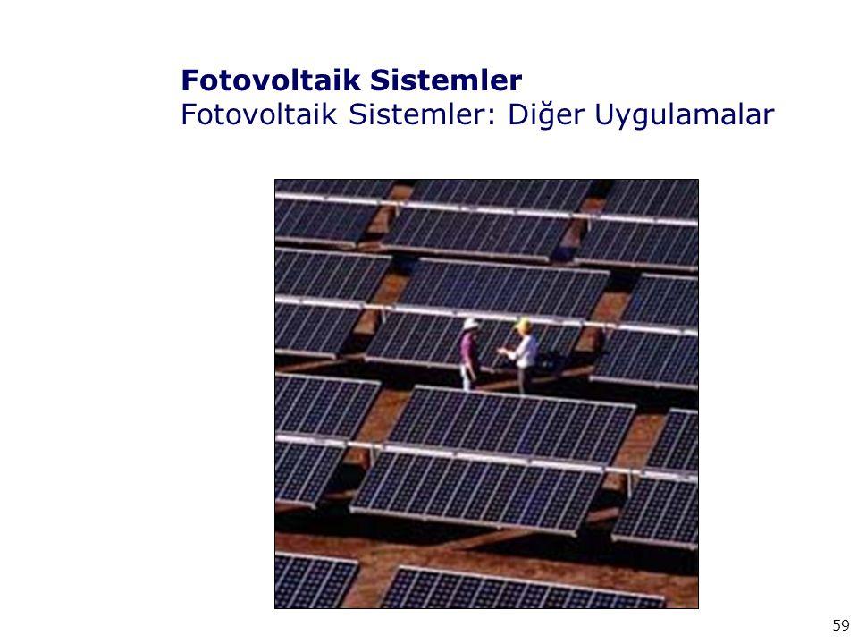 59 Fotovoltaik Sistemler Fotovoltaik Sistemler: Diğer Uygulamalar