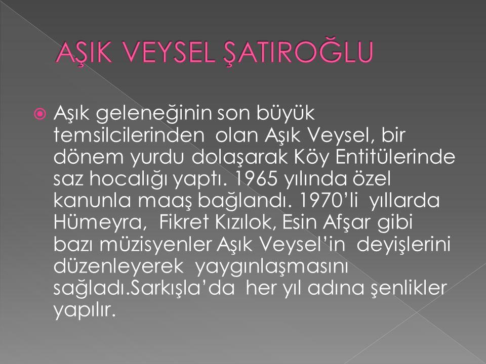  Aşık geleneğinin son büyük temsilcilerinden olan Aşık Veysel, bir dönem yurdu dolaşarak Köy Entitülerinde saz hocalığı yaptı. 1965 yılında özel kanu