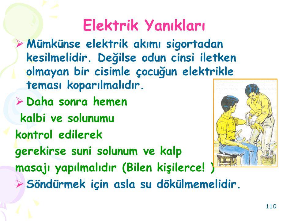 110 Elektrik Yanıkları  Mümkünse elektrik akımı sigortadan kesilmelidir. Değilse odun cinsi iletken olmayan bir cisimle çocuğun elektrikle teması kop