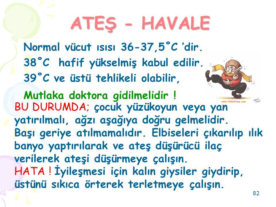 82 ATEŞ - HAVALE Normal vücut ısısı 36-37,5˚C 'dir. 38˚C hafif yükselmiş kabul edilir. 39˚C ve üstü tehlikeli olabilir, Mutlaka doktora gidilmelidir !