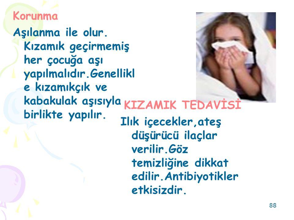 88 KIZAMIK TEDAVİSİ Ilık içecekler,ateş düşürücü ilaçlar verilir.Göz temizliğine dikkat edilir.Antibiyotikler etkisizdir. Korunma Aşılanma ile olur. K