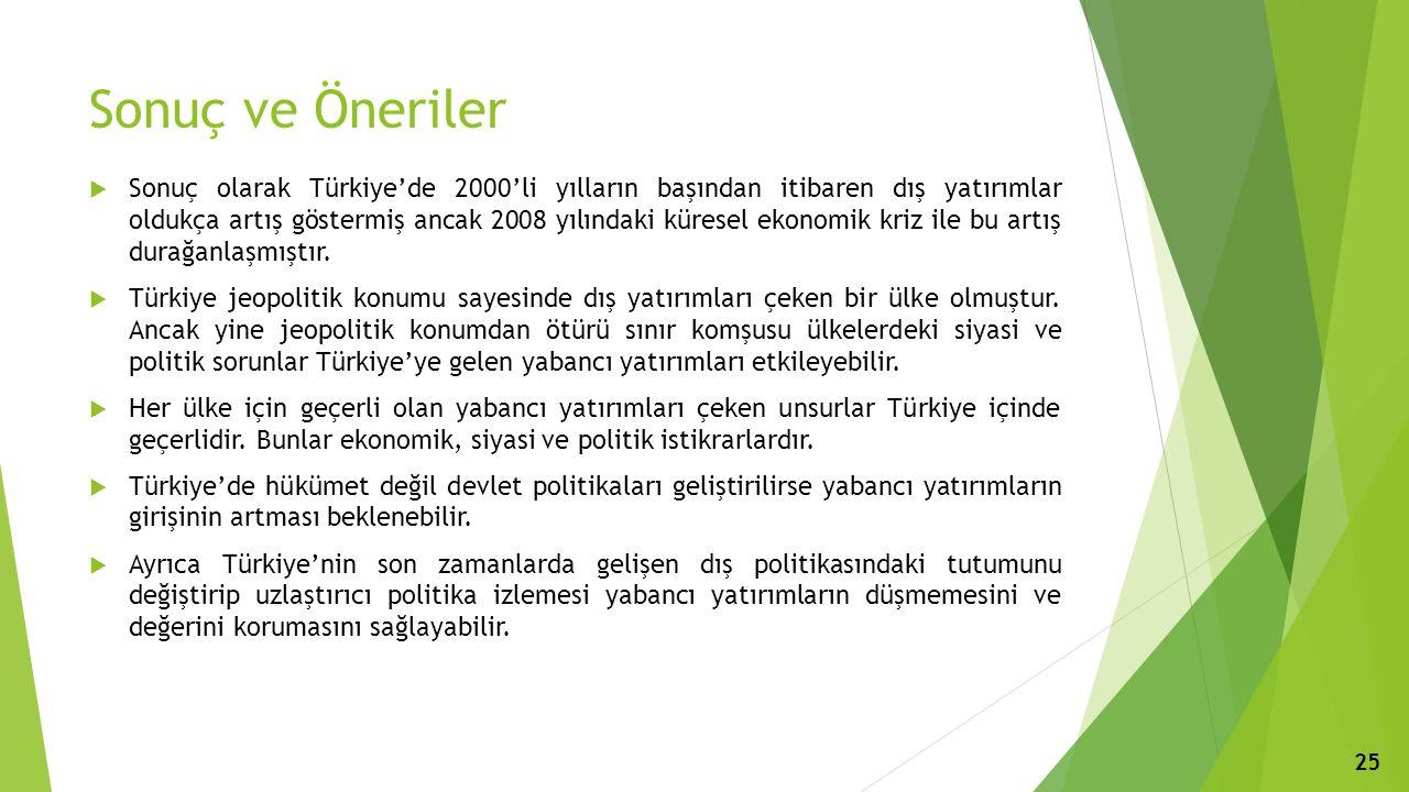 Sonuç ve Öneriler  Sonuç olarak Türkiye'de 2000'li yılların başından itibaren dış yatırımlar oldukça artış göstermiş ancak 2008 yılındaki küresel ekonomik kriz ile bu artış durağanlaşmıştır.