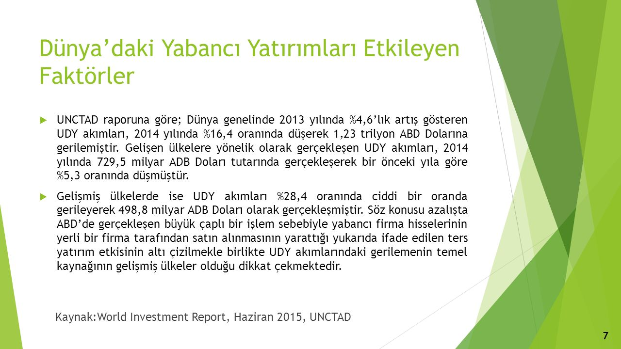 Dünya'daki Yabancı Yatırımları Etkileyen Faktörler  UNCTAD raporuna göre; Dünya genelinde 2013 yılında %4,6'lık artış gösteren UDY akımları, 2014 yılında %16,4 oranında düşerek 1,23 trilyon ABD Dolarına gerilemiştir.