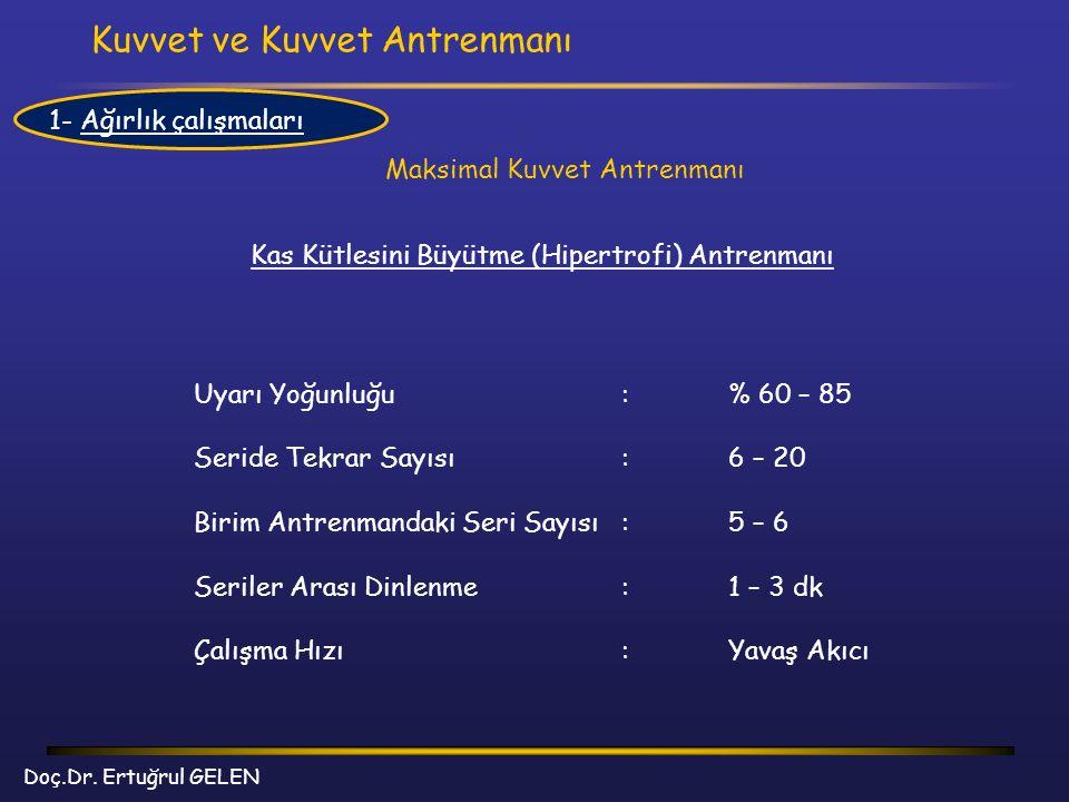 Kuvvet ve Kuvvet Antrenmanı Doç.Dr. Ertuğrul GELEN Maksimal Kuvvet Antrenmanı Kas Kütlesini Büyütme (Hipertrofi) Antrenmanı Uyarı Yoğunluğu:% 60 – 85