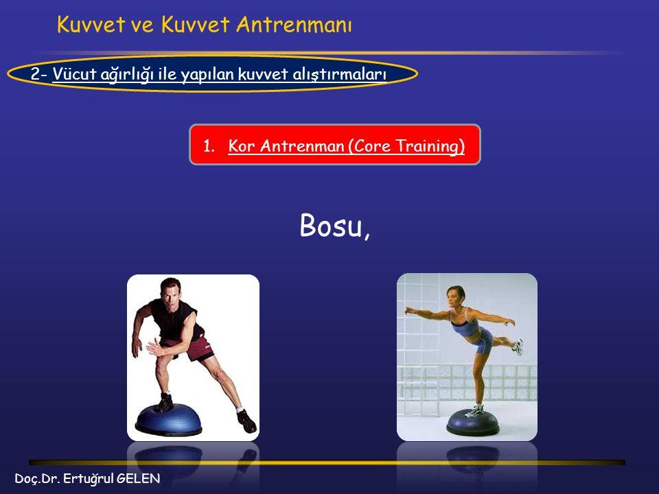 Kuvvet ve Kuvvet Antrenmanı Doç.Dr. Ertuğrul GELEN 2- Vücut ağırlığı ile yapılan kuvvet alıştırmaları 1.Kor Antrenman (Core Training) Bosu,