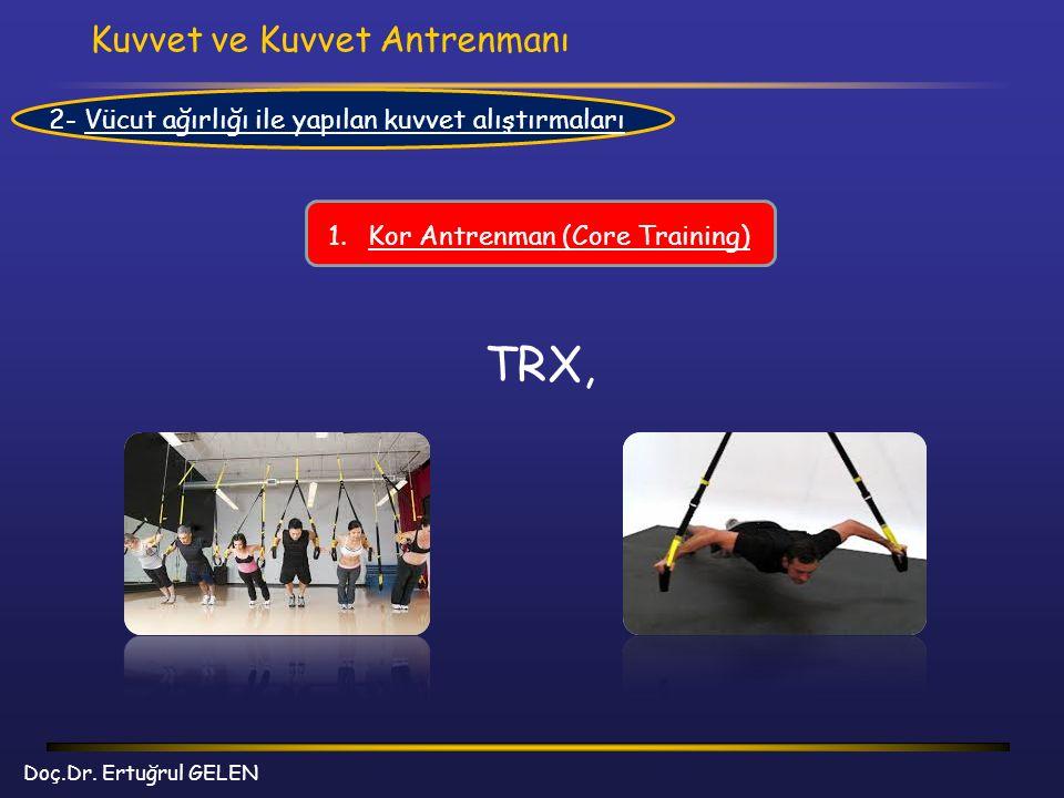 Kuvvet ve Kuvvet Antrenmanı Doç.Dr. Ertuğrul GELEN 2- Vücut ağırlığı ile yapılan kuvvet alıştırmaları 1.Kor Antrenman (Core Training) TRX,