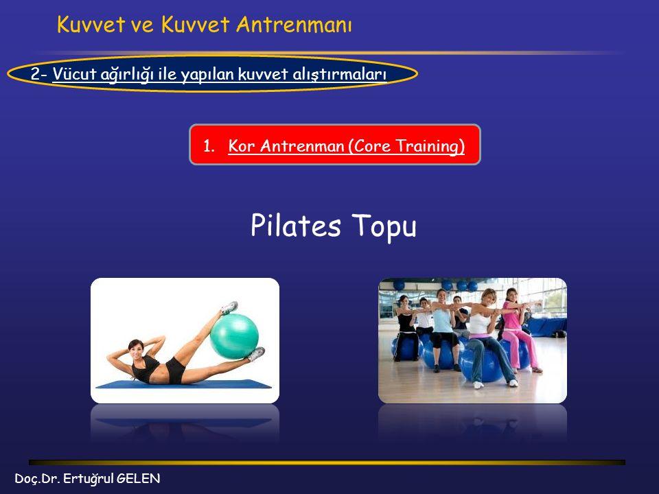 Kuvvet ve Kuvvet Antrenmanı Doç.Dr. Ertuğrul GELEN 2- Vücut ağırlığı ile yapılan kuvvet alıştırmaları 1.Kor Antrenman (Core Training) Pilates Topu